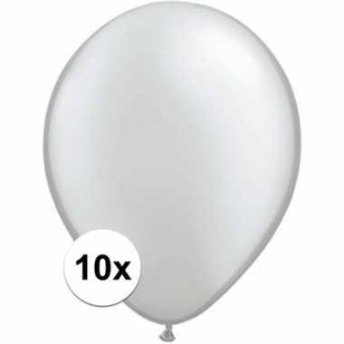 Ballonnen 10 stuks metallic zilver qualatex