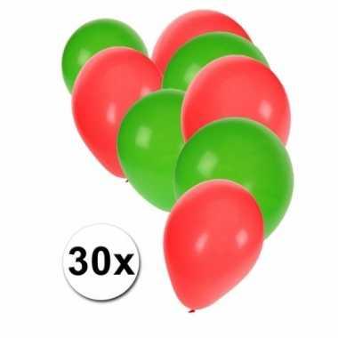 Ballonnen groen/rood 30 stuks