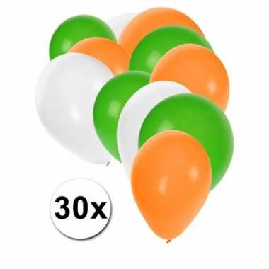 Ballonnen groen/wit/oranje 30 stuks