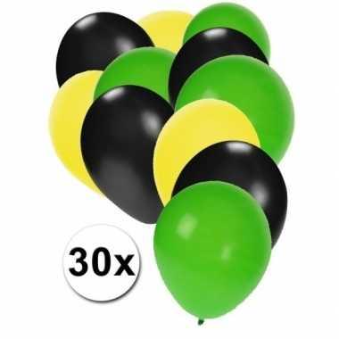 Ballonnen pakket zwart-geel-groen