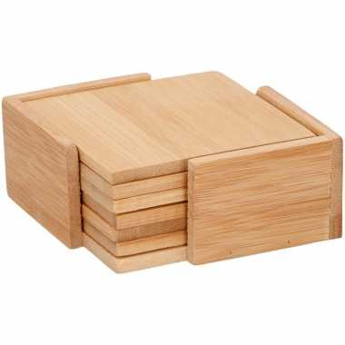 Bamboe hout glasonderzetters / onderzetters 6 stuks