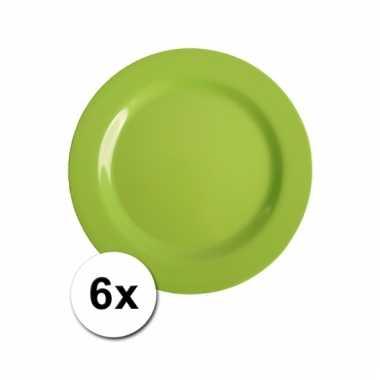 Barbecue borden groen van plastic 6 stuks 20 cm
