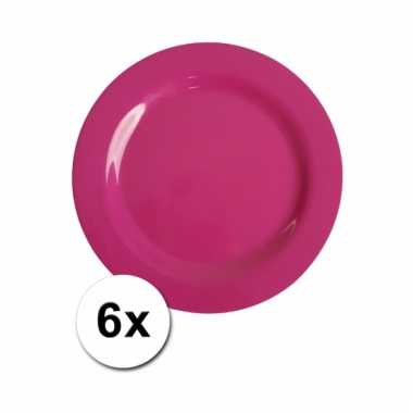 Barbecue borden roze van plastic 6 stuks 20 cm