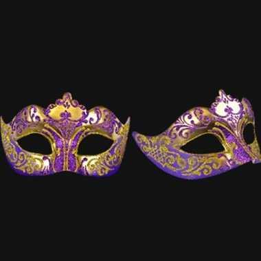 Barok oogmasker goud en paars handgemaakt