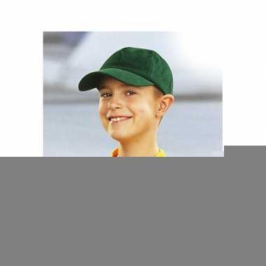 Baseballcapjes donkergroen voor kinderen