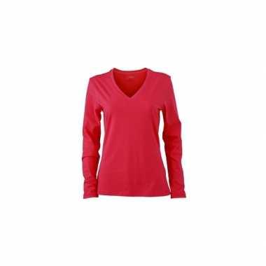 Basic dames shirt v hals lange mouw roze trend