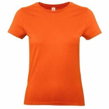 Basic dames t-shirt oranje met ronde hals