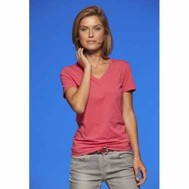 Basic dames t-shirt v-hals roze