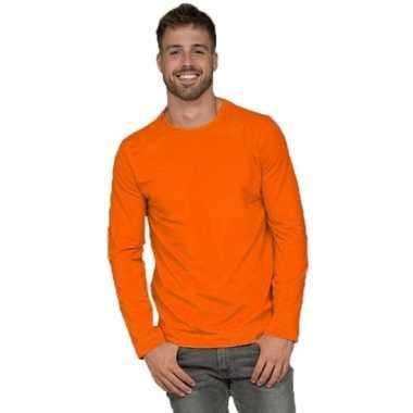 Basic stretch shirt lange mouwen/longsleeve oranje voor heren
