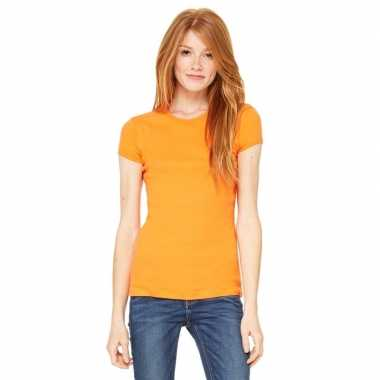 Basic t-shirt oranje met ronde hals voor dames