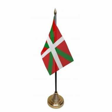 Baskenland tafelvlaggetje 10 x 15 cm met standaard