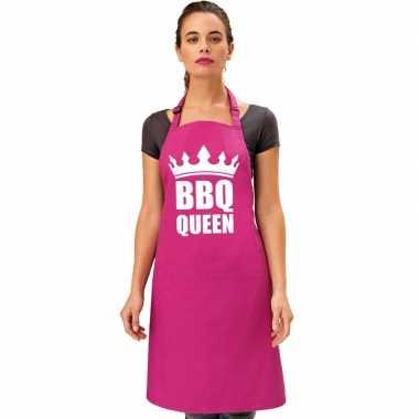 Bbq queen barbecueschort/ keukenschort roze dames