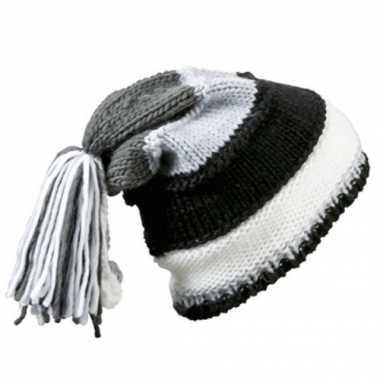 Beanie muts zwart, grijs en wit