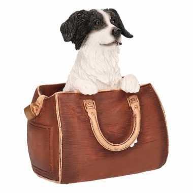 Beeldje border collie hond in tas 11 cm