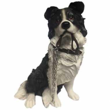 Beeldje border collie hond met riem 17 cm
