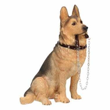 Beeldje duitse herdershond met riem 19 cm