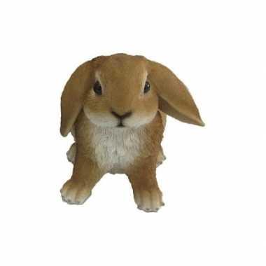 Beeldjes bruine hangoor konijntjes 15 cm