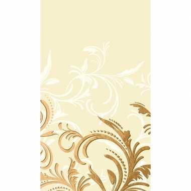Beige barok tafellaken/tafelkleed 138 x 220 cm