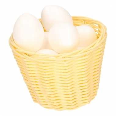 Beige easter basket with white plastic eggs 14cm