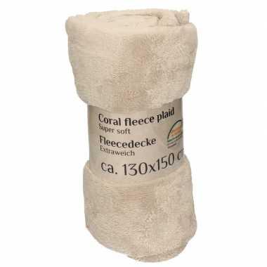 Beige fleece deken 130 x 150 cm