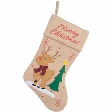 Beige kerstsok kerstversiering met rendier borduursel 41 cm