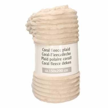 Beige met strepen relief fleece deken 150 x 200 cm