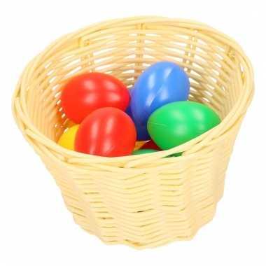 Beige paasmandje met gekleurde eieren 14 cm
