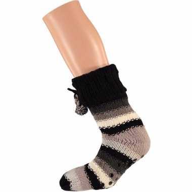 Beige/zwarte dames huissokken met gekleurde strepen