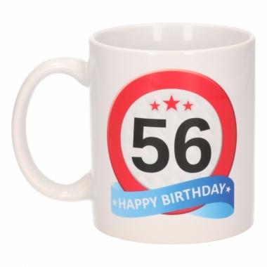 Beker / mok 56 jaar verkeersbord