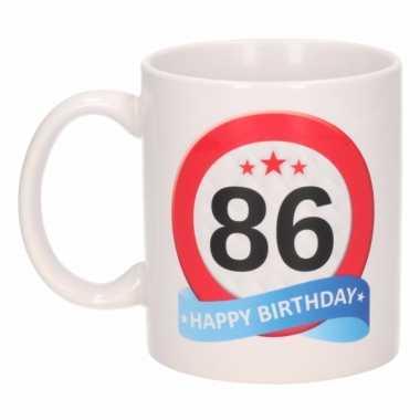 Beker / mok 86 jaar verkeersbord