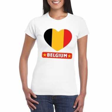 Belgie hart vlag t-shirt wit dames