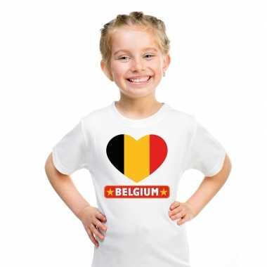 Belgie hart vlag t-shirt wit jongens en meisjes
