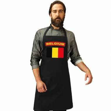 Belgie vlag barbecueschort/ keukenschort zwart volwassenen