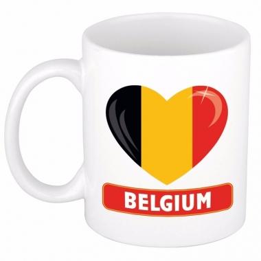 Belgische vlag hartje theebeker 300 ml