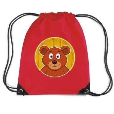 Beren rugtas / gymtas rood voor kinderen