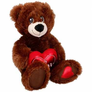 Beren speelgoed artikelen knuffelbeest bruin met hartje 33 cm