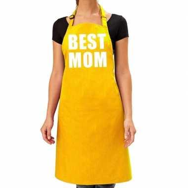 Best mom keukenschort geel voor dames / moederdag