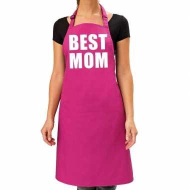 Best mom keukenschort roze voor dames / moederdag