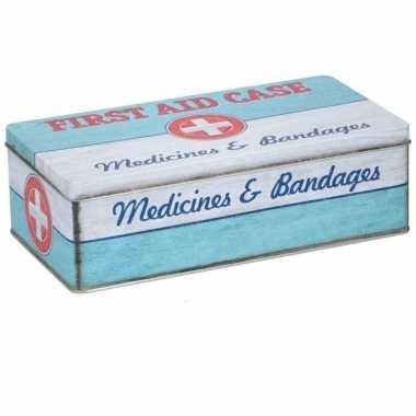 Bewaarblik first aid kit retro print mint groen 26 x 13 cm
