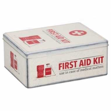 Bewaarblik first aid kit retro print rood / creme 18 x 11 cm