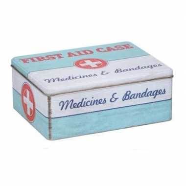Bewaarblik first aid retro print mint groen / wit 18 x 11 cm
