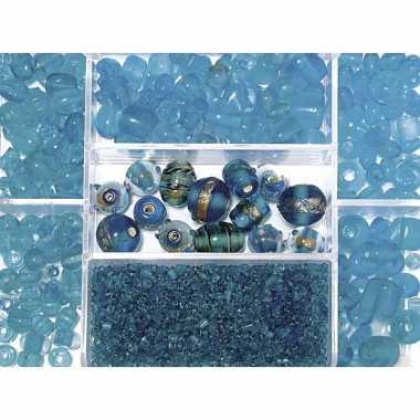 Bewaardoosje met turquoise glaskralen