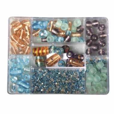 Bewaardoosje met turquoise/parel glaskralen