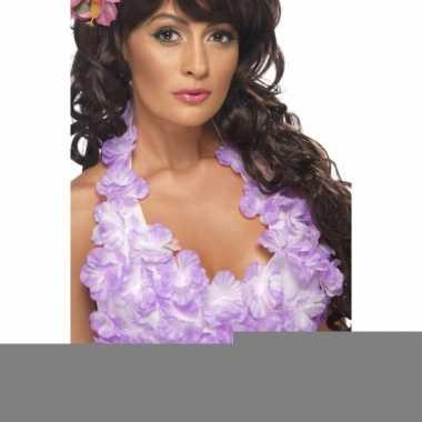 Bh met hawaii bloemen paars