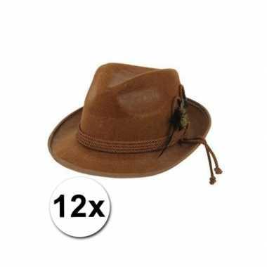 Bierfeest hoedjes bruin 12x