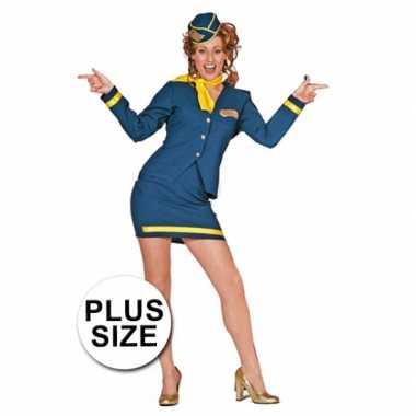 Big size stewardessjurkje blauw