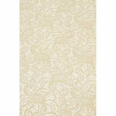 Binnen tafelloper beige anti-slip 150 x 40 cm