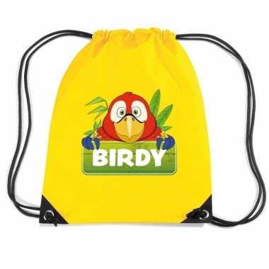 Birdy de papegaai rugtas / gymtas geel voor kinderen