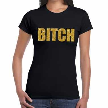 Bitch glitter tekst t-shirt zwart dames