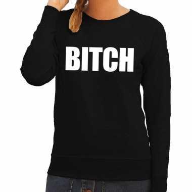 Bitch tekst sweater / trui zwart voor dames